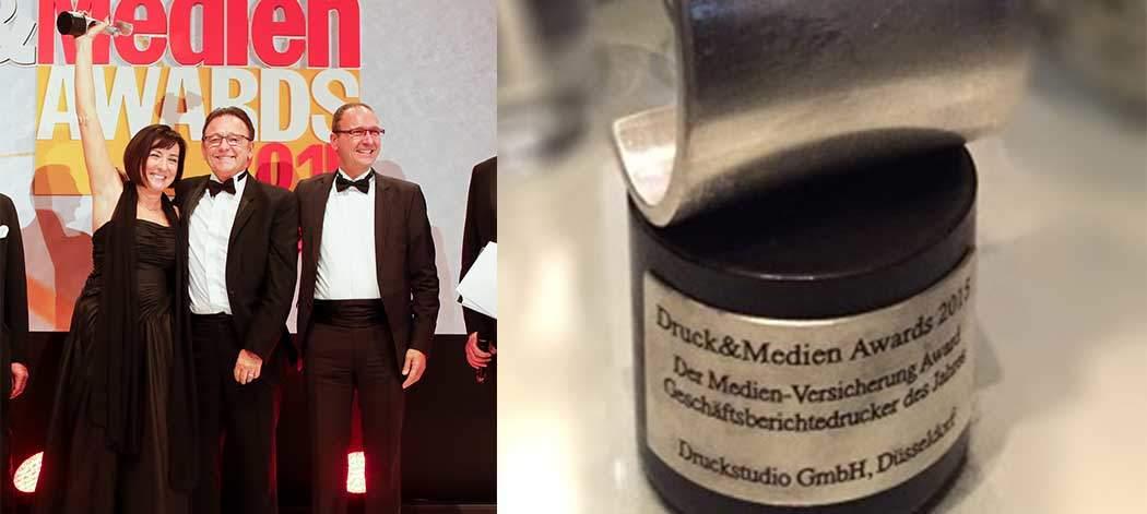 Gewinner Druck&Medien-Awards Kategorie Geschäftsberichte. Druckstudio Gruppe Düsseldorf