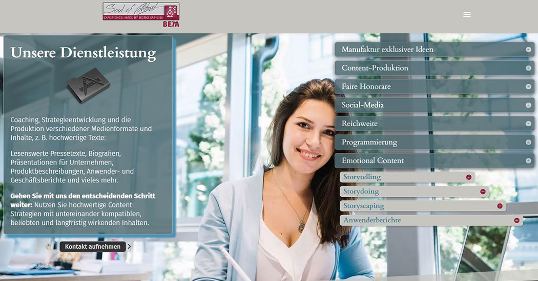 Screenshot der Website soulofcontent.de, Dienstleistungspalette