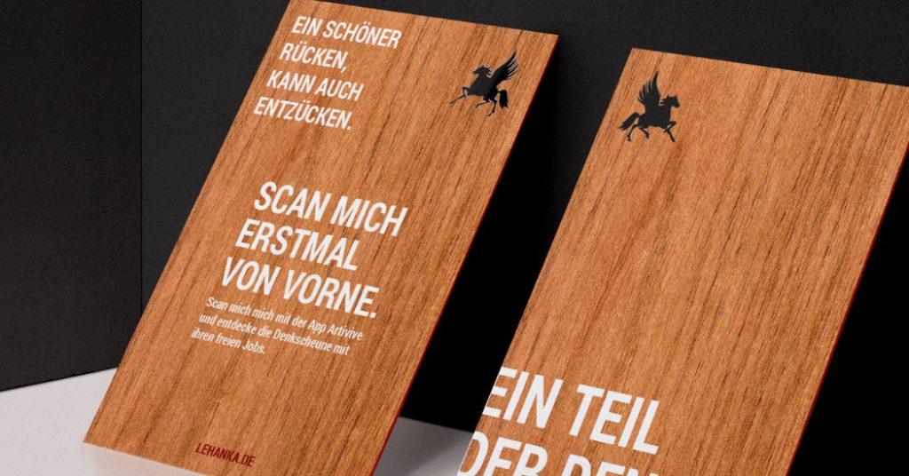 Visitenkarte aus Holzfurnier