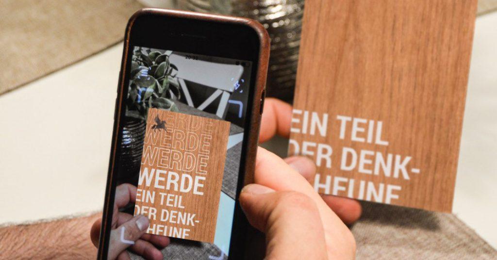 Visitenkarte aus Holzfurnier, Agentur Lehanka