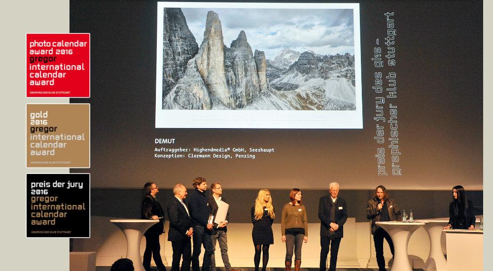 Gewinner auf dem Gregor Award für den Wandkalender DEMUT