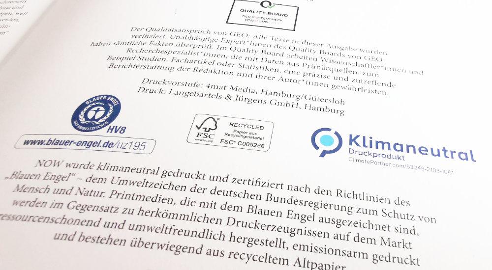 Drucksache mit Label Blauer Engel DE UZ-195